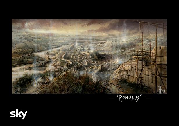L'illustrazione di Riccardo Monti (Art Director) mostra una delle ambientazioni di Romulus che saranno ricostruite sul set.jpg