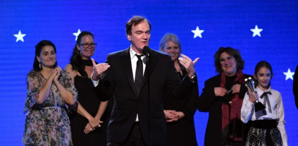 SANTA MONICA, CALIFORNIA - JANUARY 12: (L-R) Shannon McIntosh, Janine Rath Thompson, Quentin Tarantino, Heba Thorisdottir, Barbara Ling, and Julia Butters, accept the Best Picture award for 'Once Upon a Time in Hollywood' onstage during the 25th Annual Critics' Choice Awards at Barker Hangar on January 12, 2020 in Santa Monica, California. (Photo by Kevin Winter/Getty Images for Critics Choice Association)