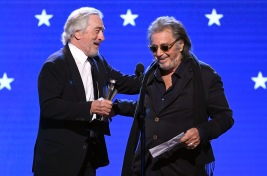 SANTA MONICA, CALIFORNIA - JANUARY 12: (L-R) Robert De Niro and Al Pacino accept the Best Acting Ensemble award for 'The Irishman' onstage during the 25th Annual Critics' Choice Awards at Barker Hangar on January 12, 2020 in Santa Monica, California. (Photo by Kevin Winter/Getty Images for Critics Choice Association)